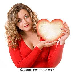 cuore, ragazza, carino, regalo, mani