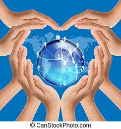 cuore, rete, fare, mani, forma, sociale