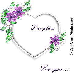 cuore, rose, testo, spazio