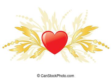 cuore rosso, dorato, piante