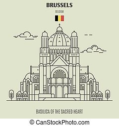 cuore sacro, punto di riferimento, belgium., basilica, bruxelles, icona