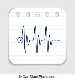 cuore, scarabocchiare, tasso, icona