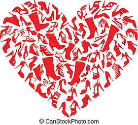 cuore, scarpe, vettore, rosso