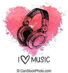 cuore, schizzo, headphones., illustrazione, mano, acquarello, schizzo, musica, fondo, disegnato