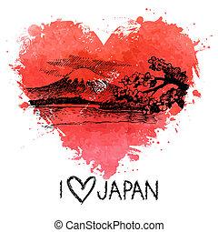 cuore, schizzo, illustrazione, acquarello, schizzo, mano, disegnato, giapponese