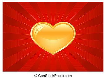 cuore, scoppio leggero, rosso, dorato