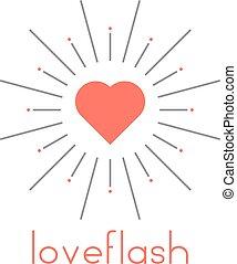 cuore, scoppio sole, rosso, loveflash