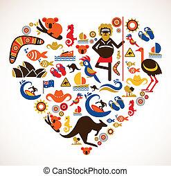 cuore, set, amore, icone, -, australia, vettore