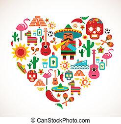 cuore, set, amore, icone, messico, -, vettore