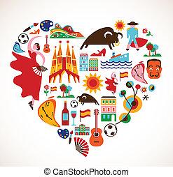 cuore, set, amore, icone, -, vettore, spagna