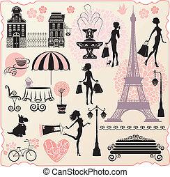 cuore, set, amore, shopping, shopping, testo, -, case, calligraphic, borse, silhouette, moda, ragazze, torre, disegno, vendita dettaglio, o, effel