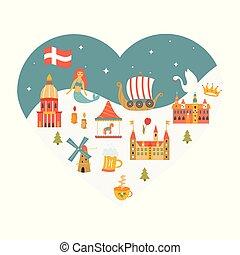 cuore, set, danese, manifesto, modellato, simboli