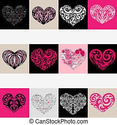 cuore, set., love., illustrazione, fondo., vettore