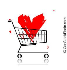 cuore, shopping, grande, carrello, disegno, tuo, rosso