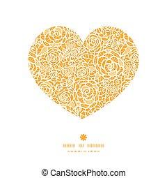 cuore, silhouette, laccio, dorato, modello, cornice, rose, vettore