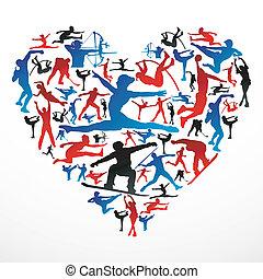 cuore, silhouette, sport
