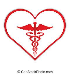 cuore, simbolo, caduceo, medico