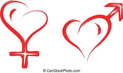 cuore, simbolo, maschio, femmina, sesso