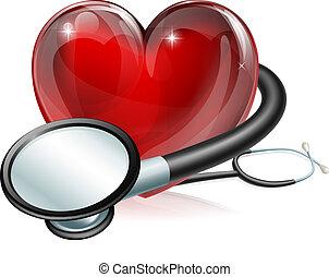 cuore, simbolo, stetoscopio