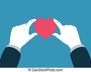 cuore, simbolo, tenendo mano