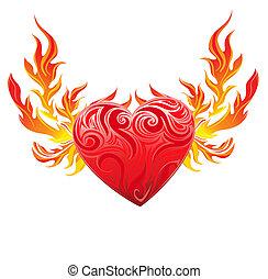 cuore, simbolo, vettore, rosso