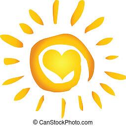 cuore, sole, caldo, astratto, estate