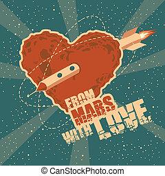 cuore, spazio, vendemmia, augurio, forma, marte, scheda