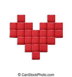 cuore, squadre, rosso, 3d