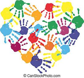 cuore, stampe, colorito, mano, forma, bambino