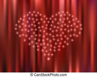 cuore, stelle, fondo, rosso