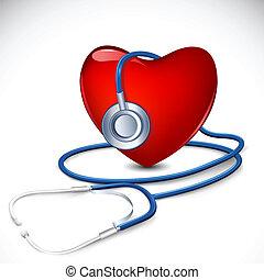 cuore, stetoscopio, intorno