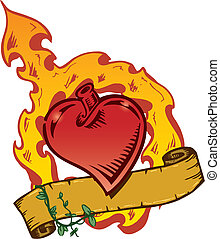 cuore, stile, tatuaggio, vettore, flamming, bandiera