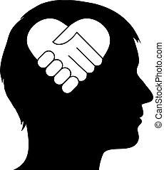 cuore, stretta di mano, maschio, silhouette