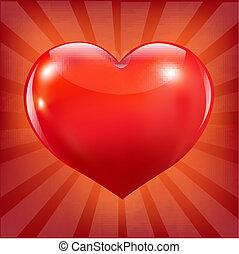 cuore, sunburst, rosso, manifesto