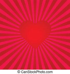 cuore, sunburst, rosso