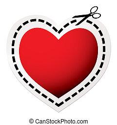 cuore, taglio, rosso, fuori