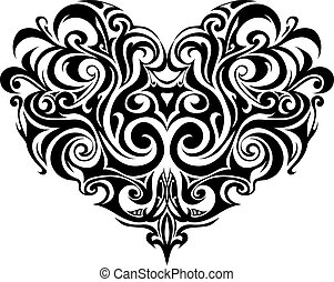 cuore, tribale, tatuaggio