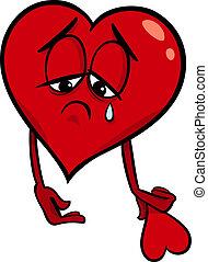 cuore, triste, cartone animato, illustrazione, rotto