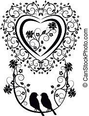 cuore, uccelli, fiori, 2