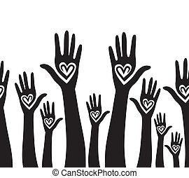 cuore, unito, come, persone, seamless, mano, fondo.