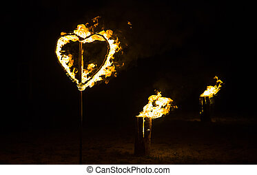 cuore, urente, fuoco, andyellow, sfondo nero
