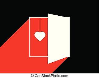 cuore, valentine, luce, door., illustrazione, day., dietro, vettore, typographical, aperto, disegno