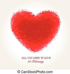 cuore, valentines, mosaico, geometrico