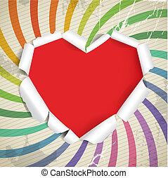 cuore, vendemmia, strappato, valentina, carta, fondo