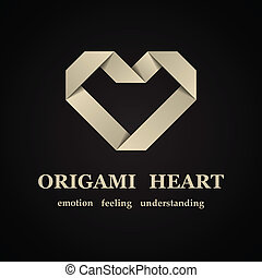 cuore, vettore, astratto, carta, origami, simbolo