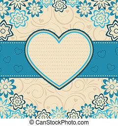 cuore, vettore, frame., illustration.