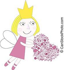 cuore, vettore, principessa, illustrazione