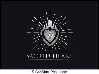 cuore, vettore, sacro, logotipo