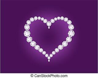 cuore, viola, diamante, fondo, vettore