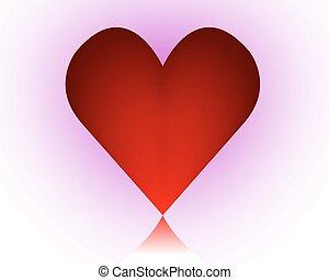 cuore viola, sfondo rosso